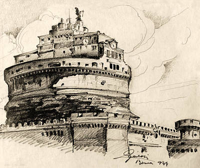 Historic Site Drawing - Saint Angel Castle by Odon Czintos