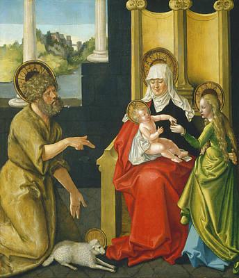 Born Again Painting - Saint Anne With The Christ Child - The Virgin - And Saint John The Baptist by Hans Baldung Grien