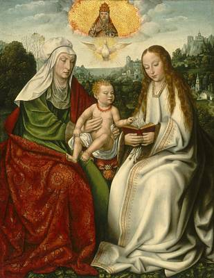 Saint Anne With The Virgin And The Christ Child Print by Master Of Frankfurt