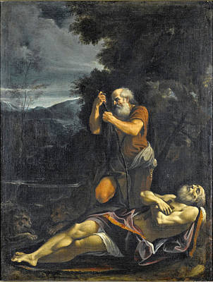 Painting - Saint Anthony Abbot Burying Saint Paul The Hermit by Lorenzo Garbieri