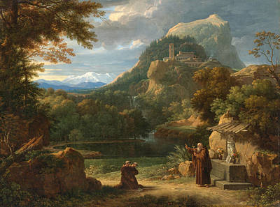 Francois Xavier Fabre Painting - Saint Anthony Of Padua Introducing Two Novices To Friars In A Mountainous Landscape by Francois-Xavier Fabre