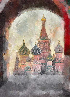Old Town Digital Art - Saint Basil View At Entering Red Square  by Yury Malkov