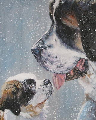 Saint Bernard Dad And Pup Print by Lee Ann Shepard
