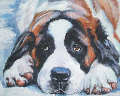 Saint Bernard In Snow Print by Lee Ann Shepard