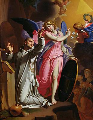 Saint Bruno At Prayer Print by Adrien Sacquespee