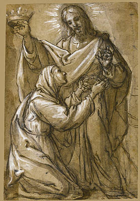 Drawing - Saint Catherine Of Siena Receives The Crown Of Thorns From Christ Who Holds The Crown Of Wordly Glor by Alessandro Casolani
