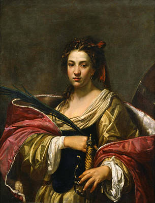 Simon Vouet Painting - Saint Catherine by Simon Vouet