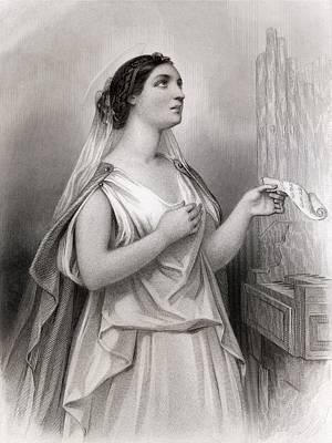 Impression Drawing - Saint Cecilia Christian Martyr by Vintage Design Pics