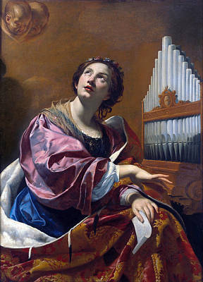 Simon Vouet Painting - Saint Cecilia by Simon Vouet