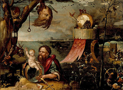 Painting - Saint Christopher And The Christ Child by Jan Mandijn