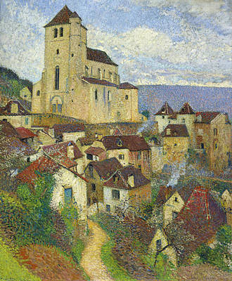 Henri Martin Painting - Saint Cirq Lapopie by Henri Martin