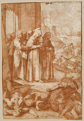 Drawing - Saint Clare Repulsing The Saracens From Assisi by Ventura Salimbeni