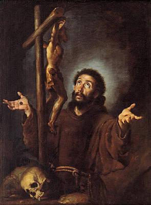 Painting - Saint Francis Of Assisi Adoring The Crucifix by Bernardo Strozzi