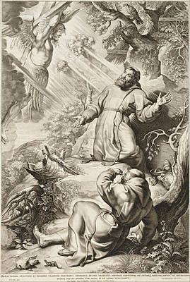 Saint Francis Receiving The Stigmata Print by Lucas Vorsterman