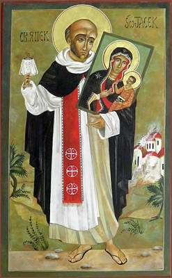 Byzantine Icon Painting - Saint Jacek by Mary jane Miller
