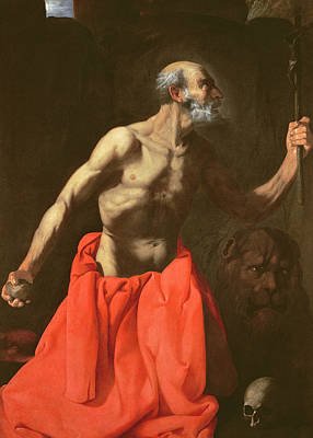 Crucifix Painting - Saint Jerome by Francisco de Zurbaran