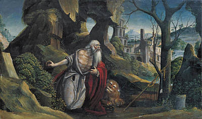 Defendente Ferrari Painting - Saint Jerome In A Rocky Wooded Landscape by Defendente Ferrari