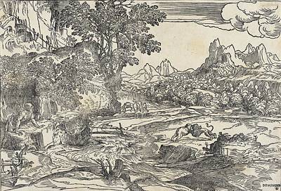 Drawing - Saint Jerome In The Wilderness With Fighting Lion And Bear by Domenico Campagnola