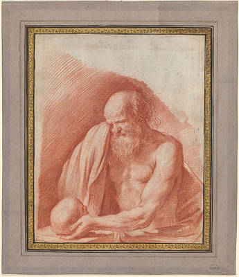 Giovanni Francesco Barbieri Painting - Saint Jerome Weeping Over A Skull by MotionAge Designs