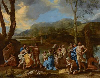 Saint John Baptizing In The River Jordan Print by Nicolas Poussin