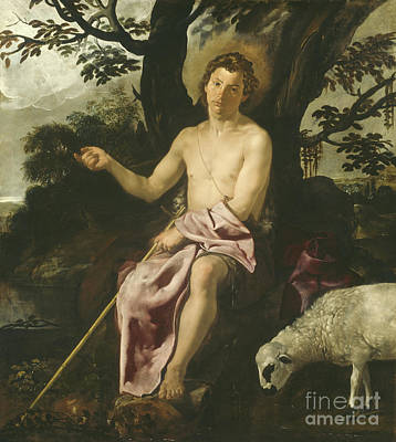 Crucifix Painting - Saint John The Baptist In The Wilderness by Diego Rodriguez de Silva y Velazquez
