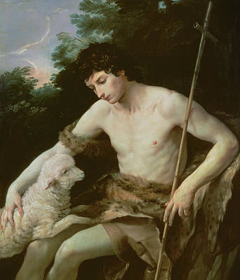Saint John The Baptist In The Wilderness Print by Guido Reni
