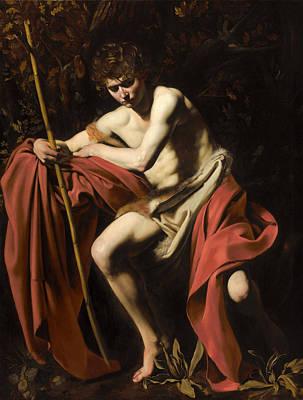 Saint John The Baptist In The Wilderness Print by Michelangelo Merisi