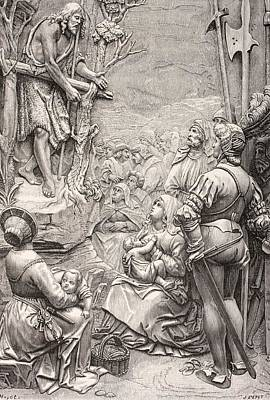 Sermon Drawing - Saint John The Baptist Preaching In The by Vintage Design Pics