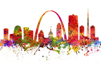 North Drawing - Saint Louis Cityscape 08 by Aged Pixel