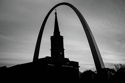 St. Louis Photograph - Saint Louis Skyline Silhouettes - Black And White - Usa by Gregory Ballos