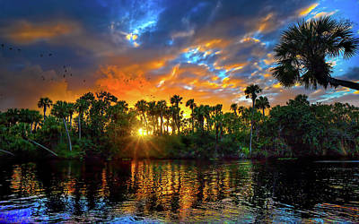 Saint Lucie River Sunset Print by Mark Andrew Thomas