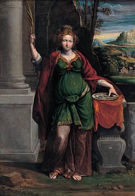 Benvenuto Tisi Painting - Saint Lucy by Benvenuto Tisi