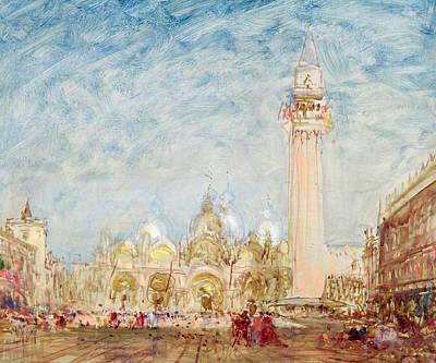 Saint Mark's Square In Venice Print by Felix Ziem