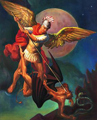 Struggles Painting - Saint Michael The Warrior Archangel by Svitozar Nenyuk