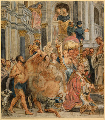 Jacob Jordaens Drawing - Saint Paul At Lystra by Jacob Jordaens