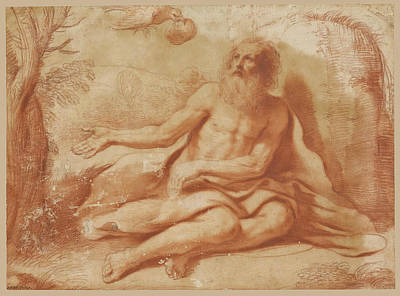 Drawing - Saint Paul The Hermit by Guercino