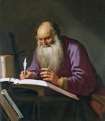 Painting - Saint Paul The Hermit Writing In His Study by Lambert Jacobsz