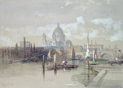 Saint Pauls From The River Print by David Roberts