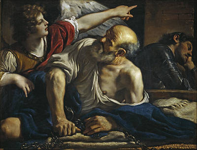 Guercino Painting - Saint Peter Freed By An Angel by Guercino