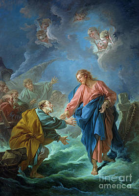 Holding Painting - Saint Peter Invited To Walk On The Water by Francois Boucher