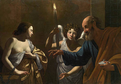 Candle Painting - Saint Peter Visiting Saint Agatha In Prison by Simon Vouet