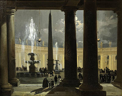Ippolito Caffi Painting - Saint Peter's Square In Rome At Moonlight by Ippolito Caffi