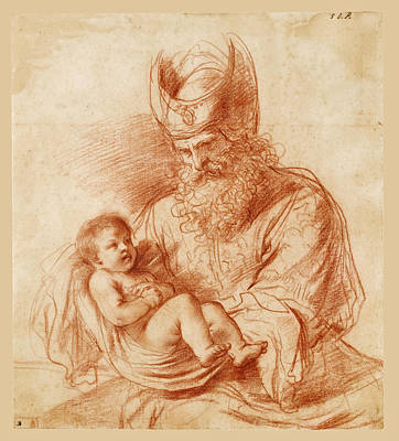 Drawing - Saint Simeon Holding The Christ Child by Guercino