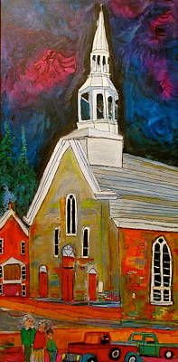 Litvack Naive Painting - Saint Sophie Church Masson by Michael Litvack