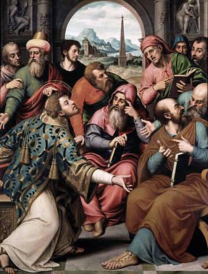 Saint Stephen In The Synagogue Print by Juan de Juanes