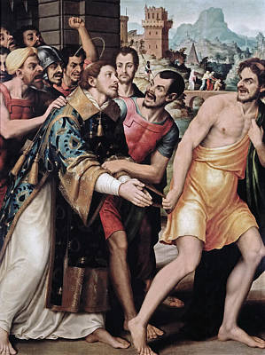 Saint Stephen Is Led To Martyrdom Print by Juan de Juanes