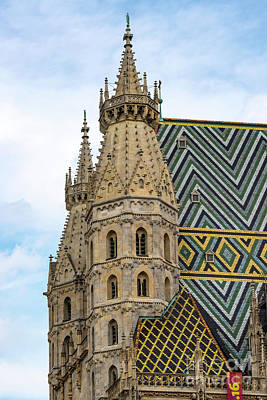Saint Stephens Spires And Tiled Roof Print by Bob Phillips