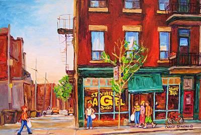 Faces And Places Painting - Saint Viateur Bagel by Carole Spandau