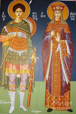 Byzantine Greek Icon Painting - Saints Dimitrius And Aekaterina by George Siaba