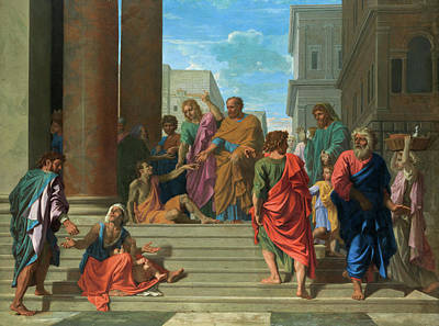 History Painting - Saints Peter And John Healing The Lame Man by Nicolas Poussin